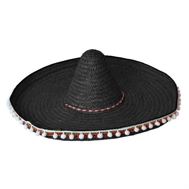 Straw Sombrero 60cm Black