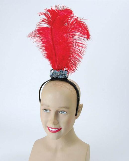 Red Flapper Headband / 3 Feathers, Roaring 1920s Fancy Dress, Charlston Headwear