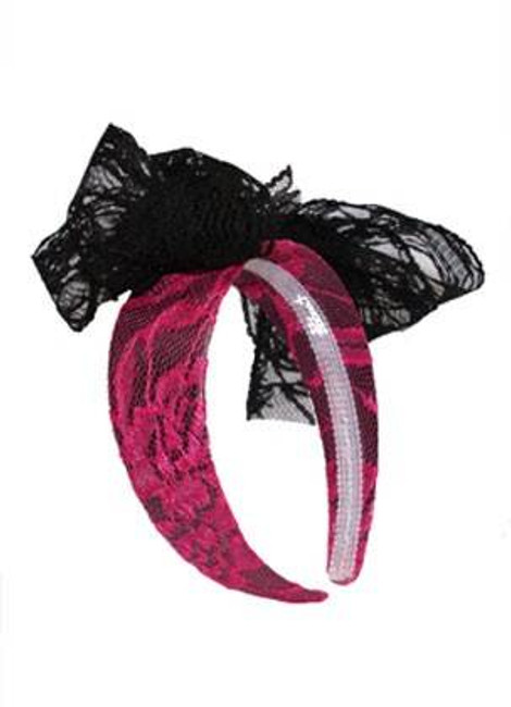 1980S Neon Lace Headband Pink Fancy Dress Costume Accessory