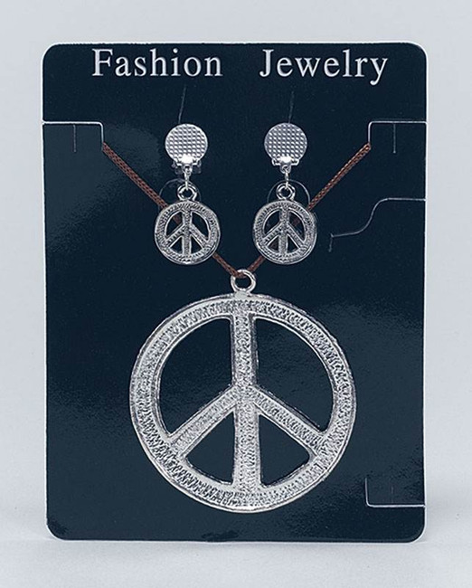 Peace Sign Necklace & EarRings,1960s 1970s Hippy Fancy Dress Costume Accessory