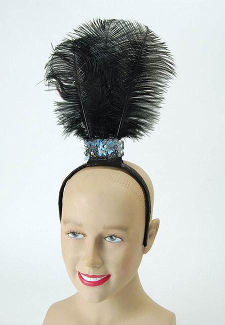 Black Flapper Headband / 3 Feathers, Fancy Dress Accessory