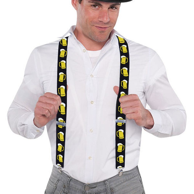 Oktoberfest (Beer Mug Pattern) Braces, Austrian Fancy Dress, Stag Night
