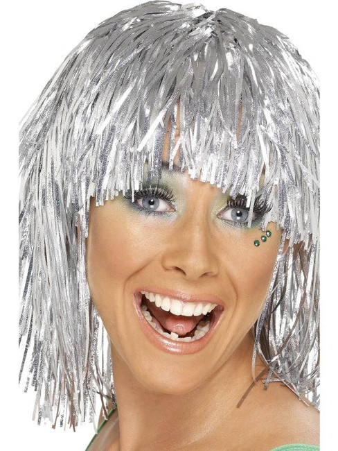 Short Silver Straight Wig, Cyber Tinsel Wig 1980's Fancy Dress