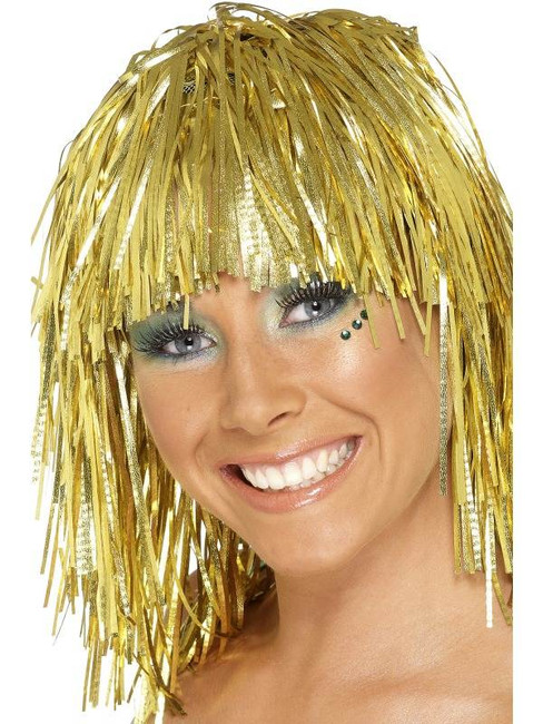 Short Gold Straight Wig, Cyber Tinsel Wig 1980's Fancy Dress