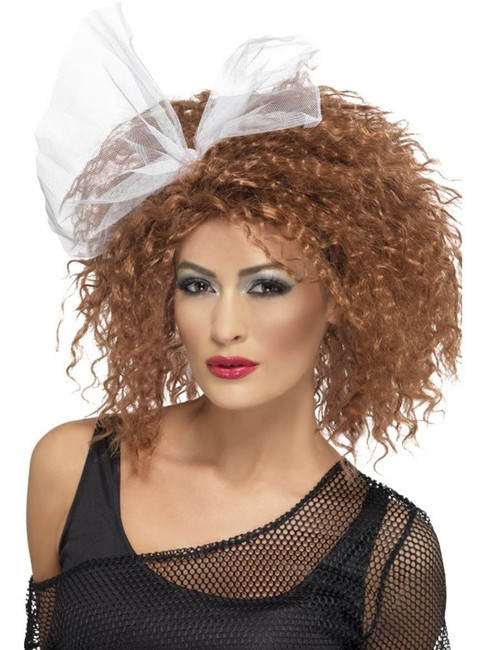 Short Brown Frizzy Wig, 80's Wild Child Wig, Brown, Curly with Bow