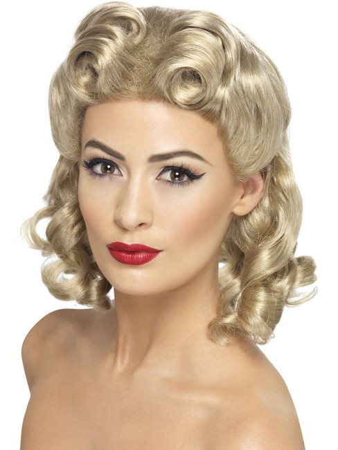 Shoulder Length Blonde Curly Wig, 40's Sweetheart Wig, WW2