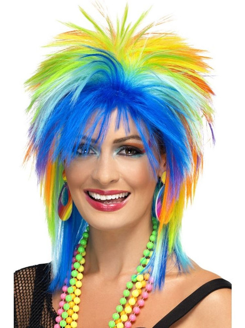 Short Multi-Coloured Spikey Wig, 80's Rainbow Punk Wig, Multi-Coloured