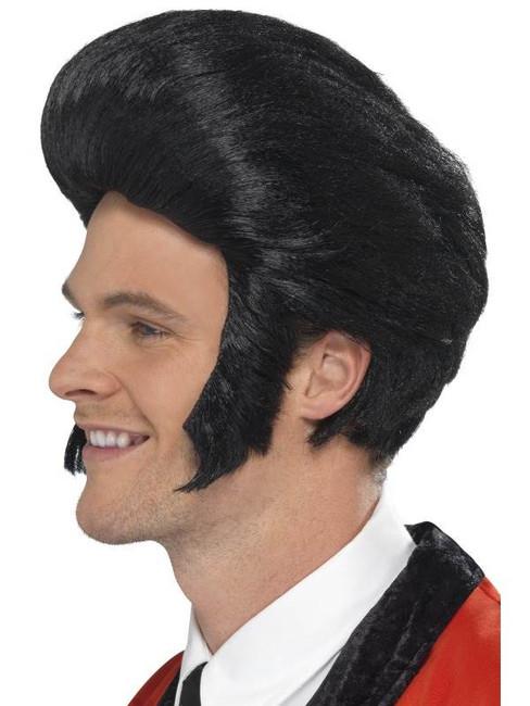 Short Black Quiff Wig, 50'S Quiff Wig. Teddy Boy, Mens Fancy Dress.
