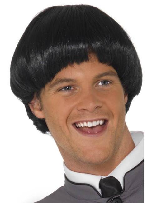 Short Black Straight Wig, 60s Bowl Wig