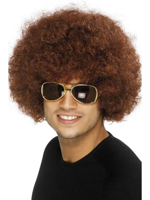 Short Brown Afro Wig, 70s Funky Afro Brown Wig. Adult Fancy Dress Accessory.