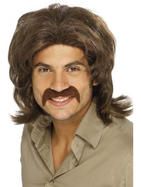 Short Brown Curly Wig, 70's Guy Wig   Retro, Fancy Dress Accessory