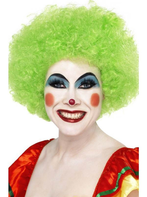 Short Green Afro Wig, Clown Wig, Green. Circus Fancy Dress Accessory