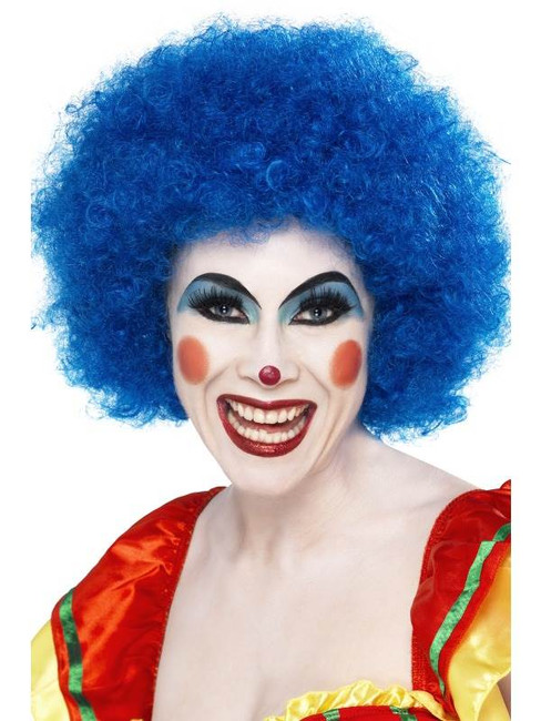 Short Blue Afro Wig, Clown Wig, Blue. Circus Fancy Dress Accessory