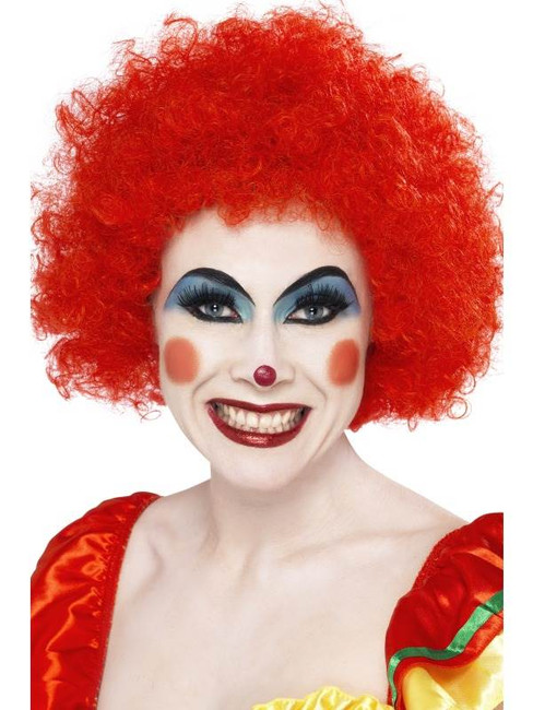 Short Red Afro Wig, Clown Wig, Red. Circus Fancy Dress Accessory