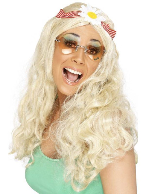 Long Blonde Straight Wig, Groovy Wig, Hippie, 1960's, With Daisy Headband