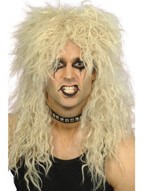 Long Blonde Frizzy Wig, Hard Rocker Wig, 1970's, 1980's Fancy Dress
