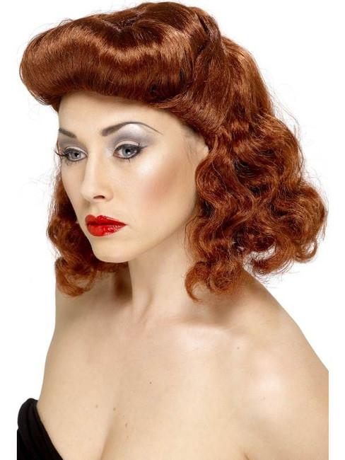 Short Auburn Curly Wig, Pin Up Girl Wig, 1940's 1950's, Fancy Dress