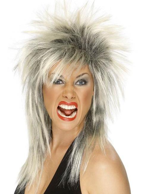 Long Two Tone Spikey Wig, Rock Diva Wig, 1990's Fancy Dress Accessory