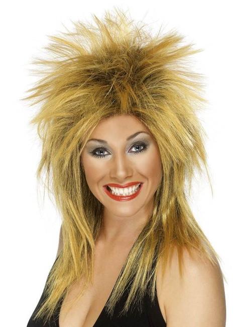 Long Ginger Spikey Wig, Rock Diva Wig, 1990's Fancy Dress Accessory