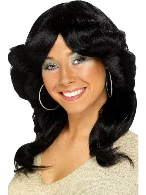 Long Black Wavy Wig, Seventies Flick Wig, 1970's Film star Fancy Dress