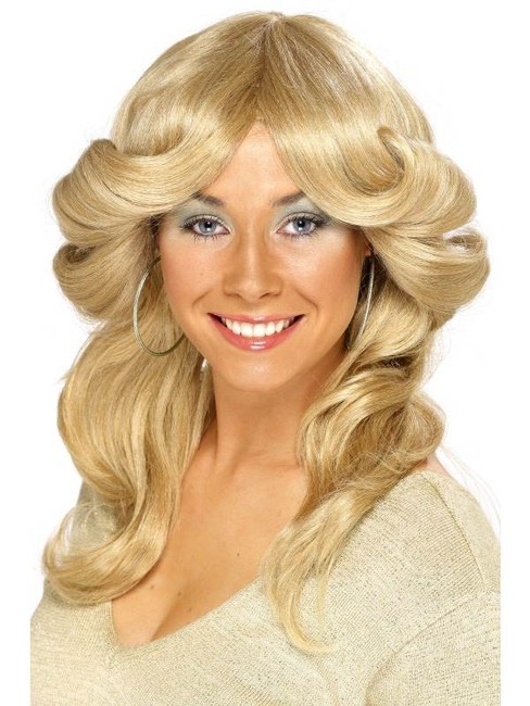 Long Blonde Wavy Wig, Seventies Flick Wig, 1970's Film star Fancy Dress