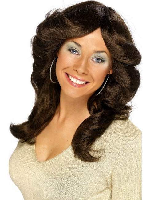 Long Brown Wavy Wig, Seventies Flick Wig, 1970's Film star Fancy Dress