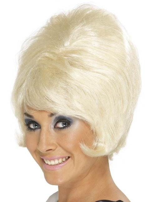 Short Blonde Beehive Wig, Sixties Beehive Wig, Swinging 60's