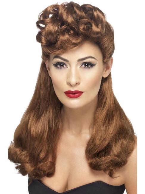 Long Auburn Wavy Wig, 40's Vintage Wig, With Top Curls WW2 Fancy Dress