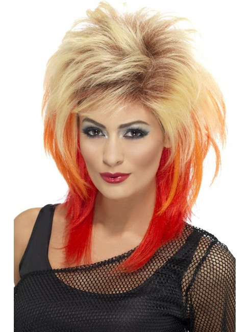 Long Blonde Frizzy Wig, 80's Mullet Wig With Red Streaks, Fancy Dress.