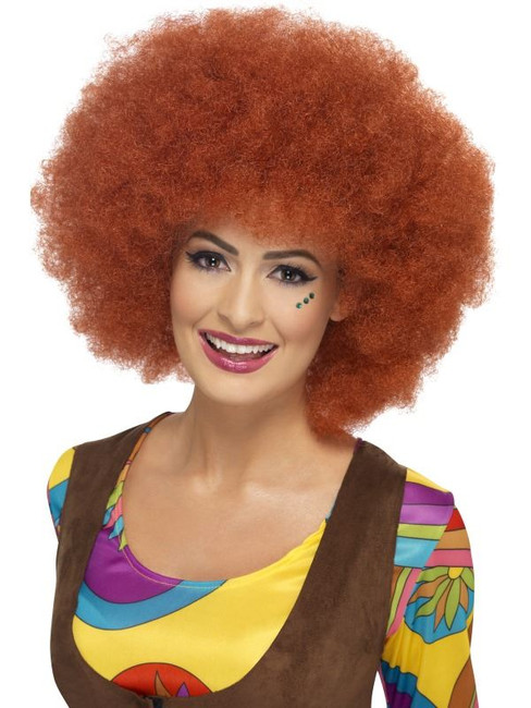 Short Auburn Afro Wig, 60s Afro Wig 1970's Disco Fancy Dress Accessory