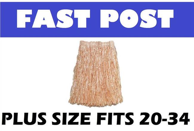 Grass Skirt, Unisex, Straw Coloured, PLUS SIZE HAWAIIAN/HULA/LUAU FANCY DRESS