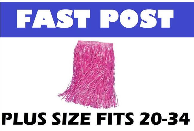 Long Length Grass Skirt. Pink, PLUS SIZE HAWAIIAN/HULA/LUAU FANCY DRESS
