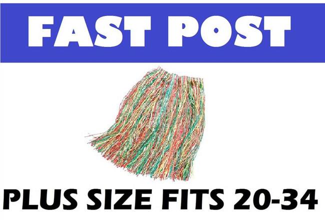 Grass Skirt. Multi Coloured PLUS SIZE HAWAIIAN/HULA/LUAU FANCY DRESS