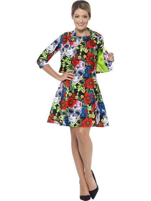Day of the Dead Suit, Small, Halloween Fancy Dress, Womens, UK 8-10