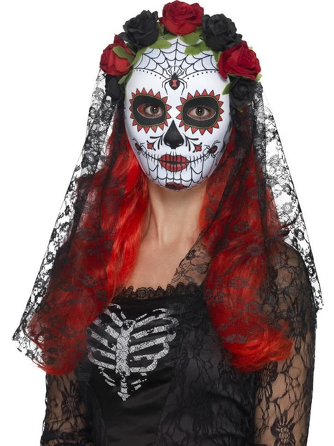 Day of the Dead Senorita Mask, Full Face, Halloween Fancy Dress, RED & BLACK