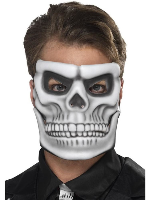 Day of the Dead Skeleton Mask, Halloween Fancy Dress, WHITE