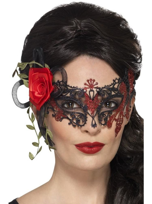 Day of the Dead Metal Filigree Eyemask, Cosmetics and Disguises, BLACK