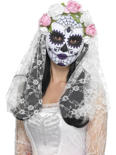 Day of the Dead Bride Mask, Full Face, Cosmetics and Disguises, WHITE