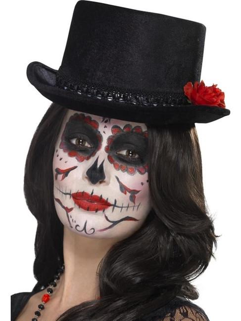 Day of the Dead Top Hat, Halloween Fancy Dress, BLACK