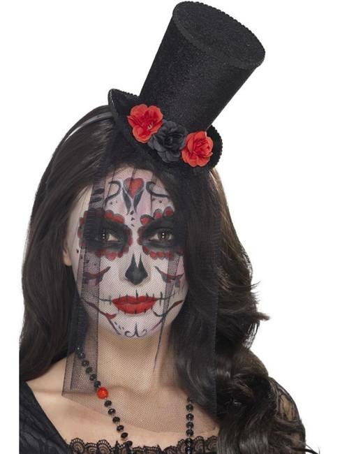 Day of the Dead Mini Top Hat, Halloween Fancy Dress, BLACK