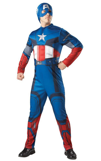 CAPTAIN AMERICA DELUXE SUPERHERO Costume, Fancy Dress, XL, Adults