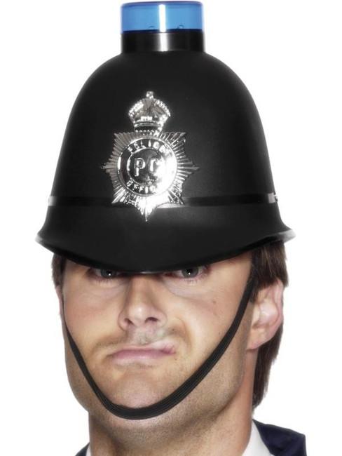 Police Helmet  Flashing Siren Light.  One Size