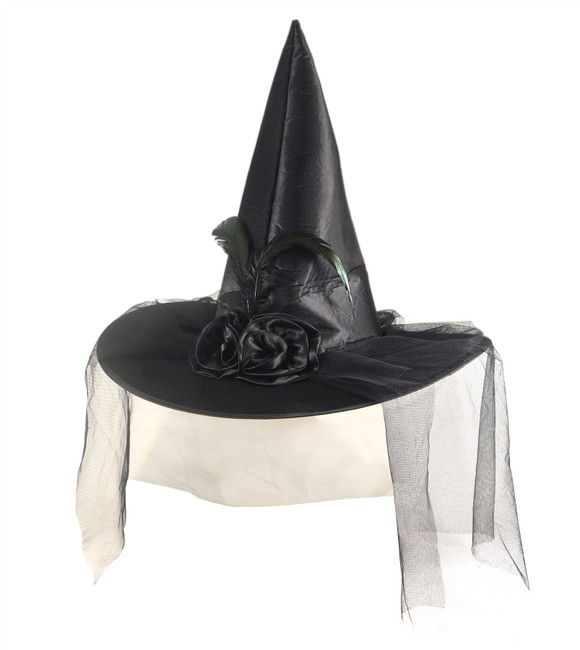 Black Satin Witch Hat With Feather, Flowers & Veil, Halloween Witches Fancy Dress