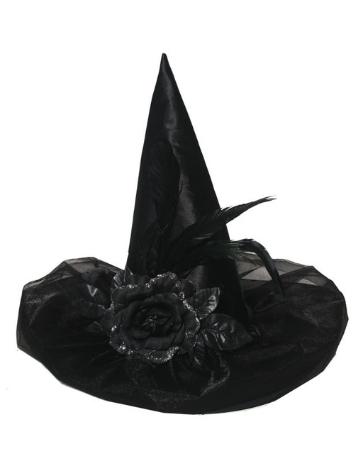 Deluxe Black Satin Witch Hat With Feather & Flower, Halloween Witches Fancy Dress