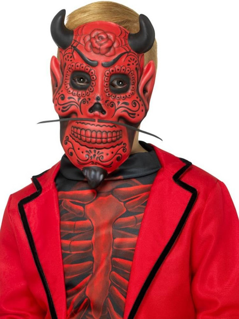 Day of the Dead Devil Mask,Childs,Halloween Children's Fancy Dress,One Size