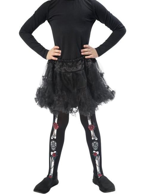 Day of the Dead Tights,Child, Tights and Petticoats,Medium/Large Age 8-12