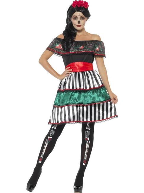 Day of the Dead Senorita Doll Costume,Mexican/Sugar Skulls,UK Size 16-18
