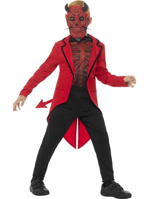 Deluxe Day of the Dead Devil Boy Costume,Halloween Fancy Dress, Age 7-9