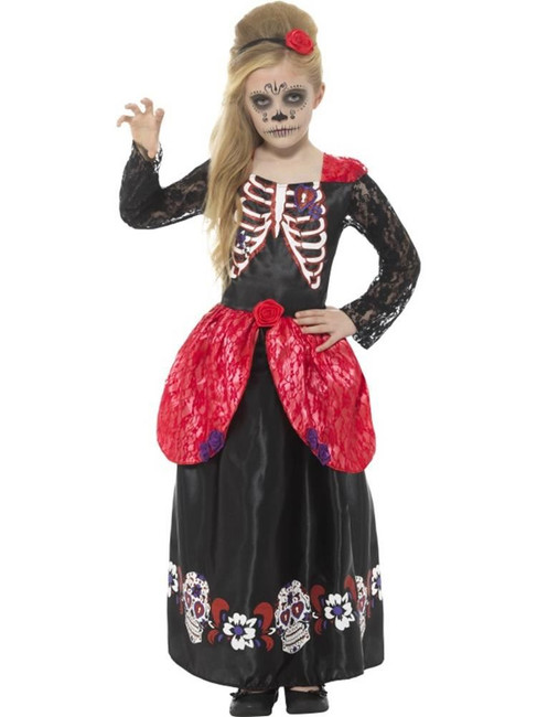 Deluxe Day of the Dead Girl Costume,Halloween  Fancy Dress,Medium Age 7-9