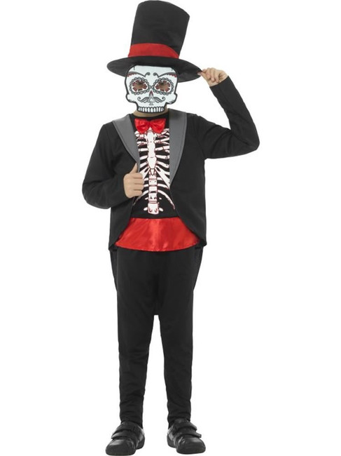 Day of the Dead Boy Costume,Halloween Children's Fancy Dress. Medium Age 7-9